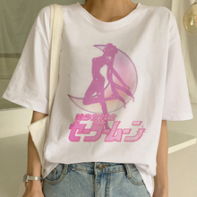 Kawaii Sailor Moon Aesthetic T-Shirt Harajuku Vogue Short Sleeve 90s Ulzzang Cute Cat clothes Casual