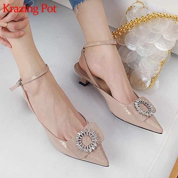Krazing pot fashion natural leather pointed toe low heels ankle straps crystal buckle gorgeous wedding summer shallow pumps L82