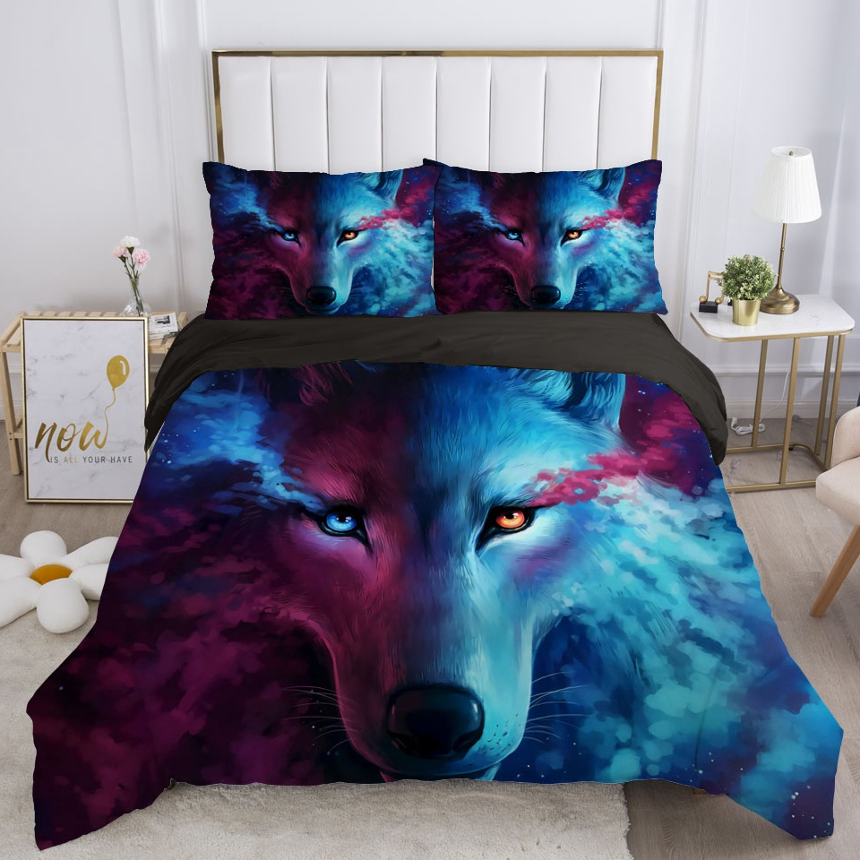 3D Comforter Bedding Sets Double/euro/150/130/90 Duvet Cover Set Blanket/quilt Cover and Pillowcase Smoke wolf Quality Printed