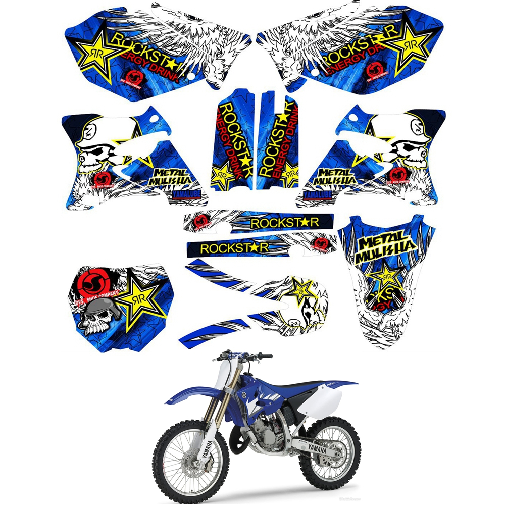 For YAMAHA YZ 125 250 YZ125 YZ250 2002 - 2014 Graphics Decals Stickers Custom Number Name 3M Motorcycle Backgrounds Accessories