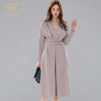H Han Queen mujer otoño ropa de oficina vestido de línea a 2019 nuevo cuello pico media pantorrilla Swing vestidos Color sólido elegante vestidos con cinturón
