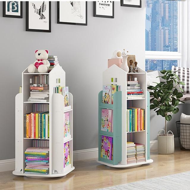 360° Rotating Children's Bookshelf Magazine Picture Book Newspaper Rack Floor Simple Book Shelf For Home Bookcases Furniture