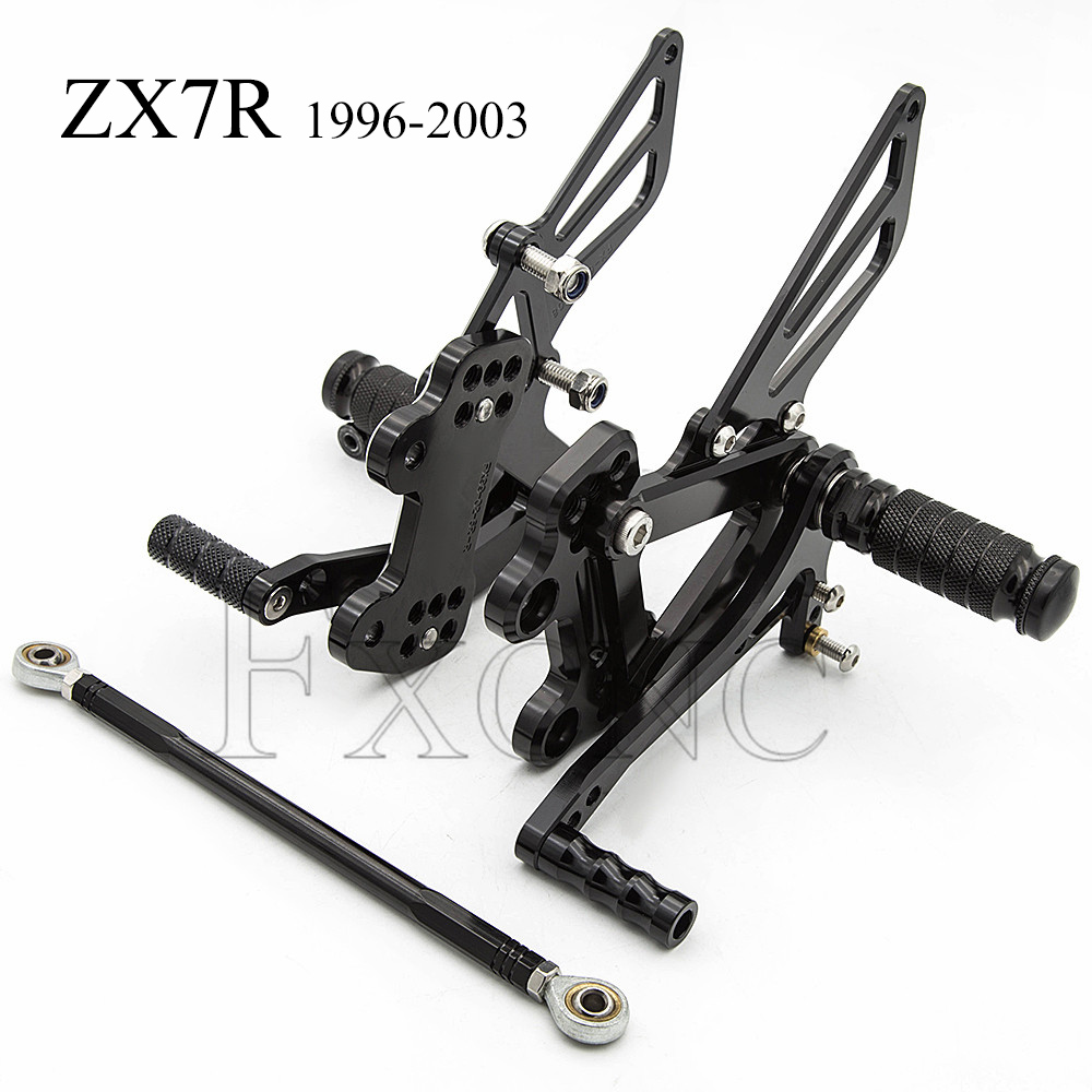 CNC Adjustable Rearset For Kawasaki ZX7R ZX-7R ZX 7R 1991-2003 Motorcycle Foot Pegs Rest Footpegs Pedals Rearsets Footrest  ZX7R