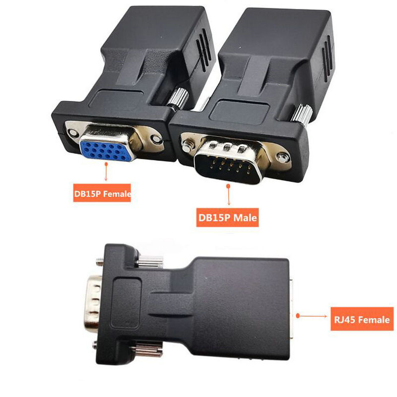 VGA Extender Male//Female to RJ45 Ethernet Female LAN CAT5 CAT6 Cable Adapter D