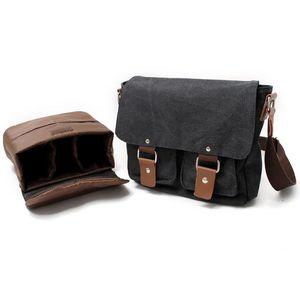 Image 3 - Tuval SLR kamera çantası ulusal coğrafi fotoğraf SLR kamera çantası Canon Nikon Sony için mini Messenger omuz çantası