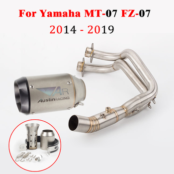 Motorcycle Exhaust Muffler Modified Front Pipe with Muffler For Yamaha MT-07 MT07 2014 - 2019 2018 2017 2016 2015 FZ 07 FZ-07 motorcycle exhaust modified scooter clamp on motorbike mid pipe slip on muffler exhaust mid pipe for yamaha mt 07 mt07 mt 07