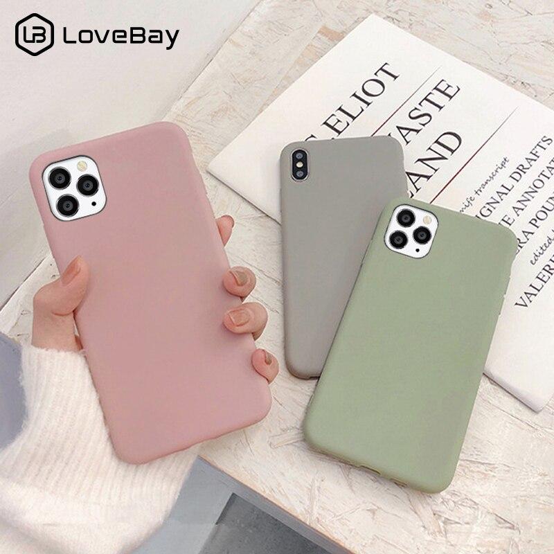 Lovebay sevimli mat katı şeker renk telefonu kılıfı iPhone 11 12Pro SE 2020 X XR XS Max 8 7 6 6s artı basit silikon yumuşak kapak