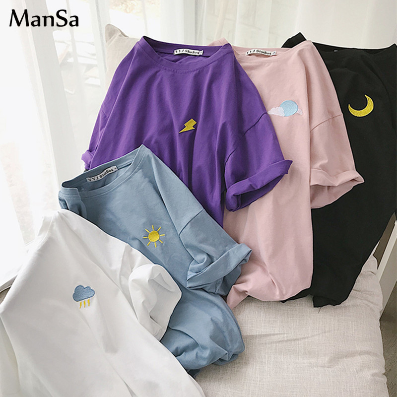 Korean Weather Embroidery Loose Basic T Shirt Summer Short Sleeve Simple T-shirts For Women Harajuku Kawaii Funny Student Tshirt
