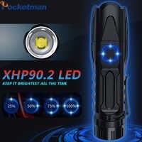 Mais poderosa lanterna led xhp90.2 xlamp tático à prova dtactical água controle de chip inteligente com fundo ataque cone usb recarregável