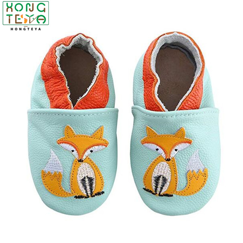 Newborn Boys Girls Soft Genuine Leather Antislip Baby Shoes First Walkers Baby Moccasins 0-24Months Carton Skid-Proof
