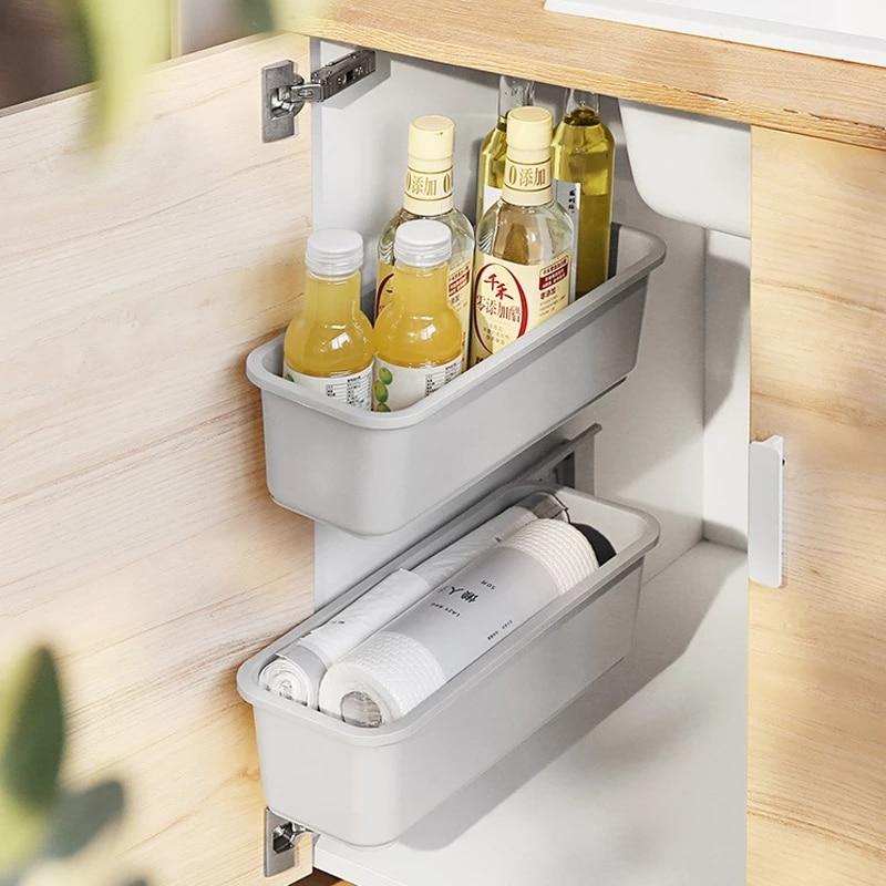 Milyydom Kitchen Organizer Spice Rack Wall-Mounted Storage Drawer for Cabinet Closet Push-Pull Plastic Storage Basket