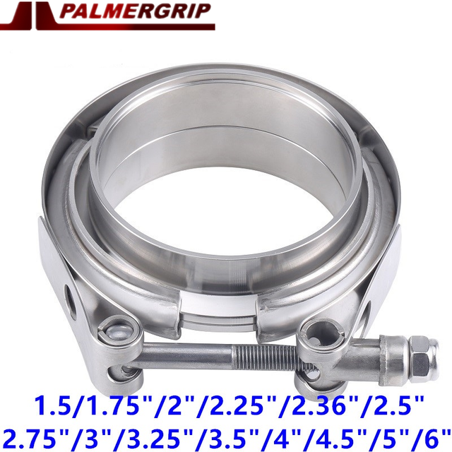 """304 Stainless Steel Car 3 V band Exhaust Male Female Flange 38mm 76mm 3 Vband Clamp 3 V band Clamp 2.5"""" 3"""" 3.5 4 Inch"""