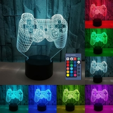 Creative 3D Illusion Gamepad Shape LED Night Light Idea Color Changing Desk Night Lamp for Kids Child Bedroom Decor Game Shop De cheap KEYBOARD CN(Origin) K9FB9FF202756-2 Night Lights Switch