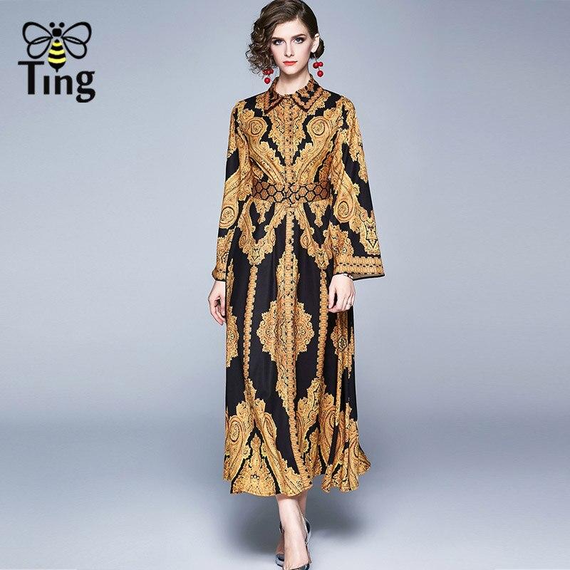 Tingfly printemps nouveau Vintage concepteur imprimé Floral Maxi tenue décontractée dame bureau robe de travail avec ceinture ouverte simple boutonnage Plus 2X
