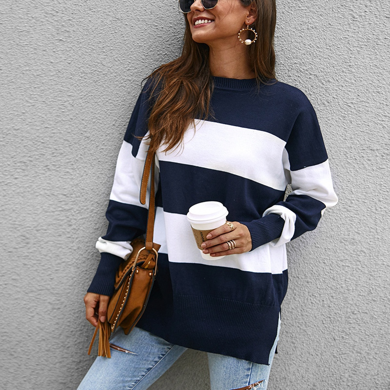Autumn And Winter Sweater Large Size Women's 5XL 6XL 7XL 8XL 9XL Round Neck Casual Striped Stitching Sweater Bust 146CM