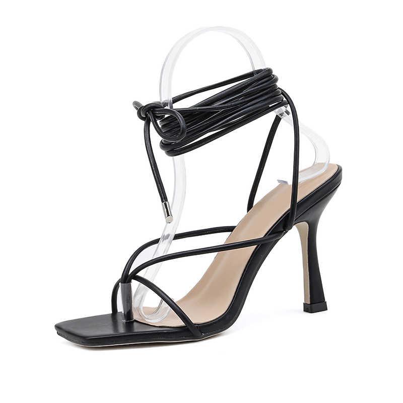 Kcenid yaz kadın sandalet dar bant vintage kare ayak yüksek topuklu çapraz kayış tanga sandalet kadın V şekli tasarım ayakkabı kadın