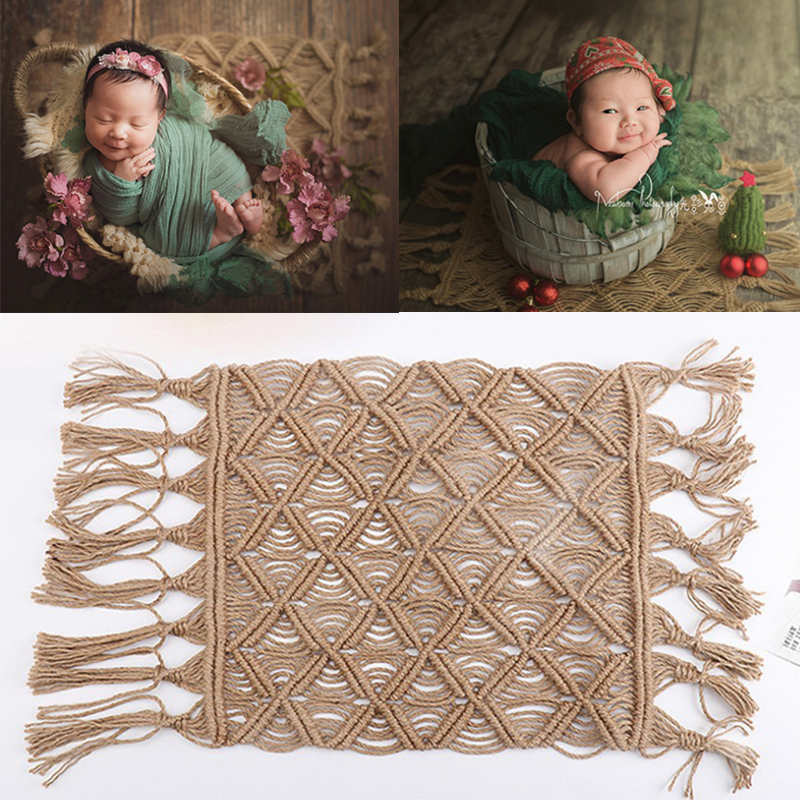 Newborn Photography Props Accessories Backdrop Blanket Bohemian Style Hemp Rope Blanket For Newborn Shooting Baby Photo Props