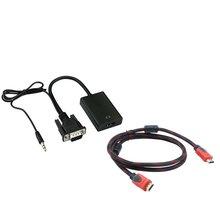VGA to HDMI HD Video Audio Converter + Braided 4.5 feet HDMI Cable High-definition Video and Audio Converter аксессуар palmexx hdmi vga px hdmi vga