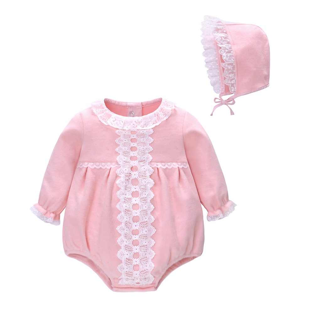2-1 Bayi Gadis Rompers Bayi Gadis Pakaian Musim Semi Musim Gugur Lengan Panjang Baru Lahir Baju Monyet dengan Topi 6-24M Bayi Pakaian 2 Pcs Set