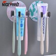 Без ударов пластиковый держатель для зубной пасты и для зубной щетки стеллаж для хранения бритва зубная щетка диспенсер Органайзер аксессуары для ванной комнаты