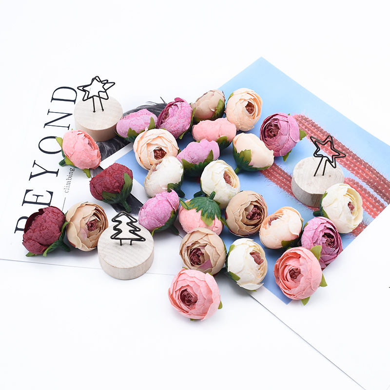 Шелковые чайные головки розы, 12 штук, украшение дома, свадебные аксессуары, венок, сделай сам, Подарочная коробка для свадьбы искусственные ...