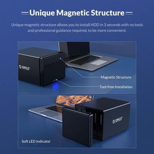Image 2 - Док станция ORICO серии NS для жесткого диска 3,5 дюйма, 4 отсека, Тип C, поддержка 64 ТБ, USB, 5 Гбит/с, чехол для жесткого диска UASP с адаптером 78 Вт, корпус для жесткого диска