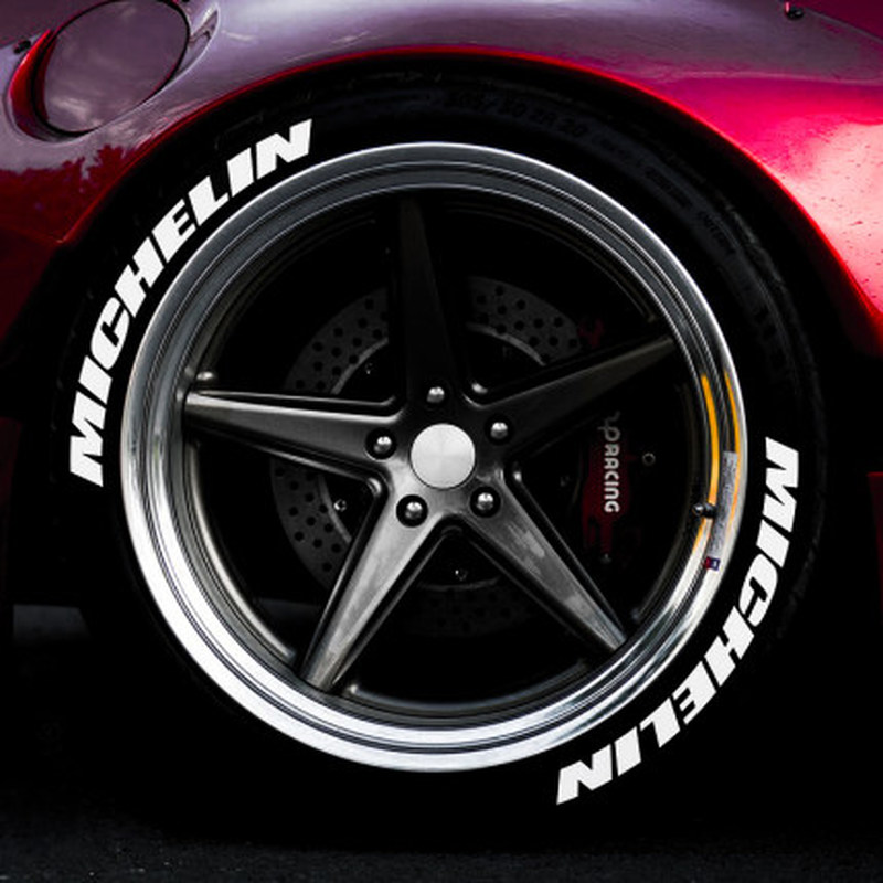 Car Tire Sticker White Rubber 3D Logo Car Modified Wheel Label Sticker Suitable For Michelin Tire Sticker And Decal Car Styling