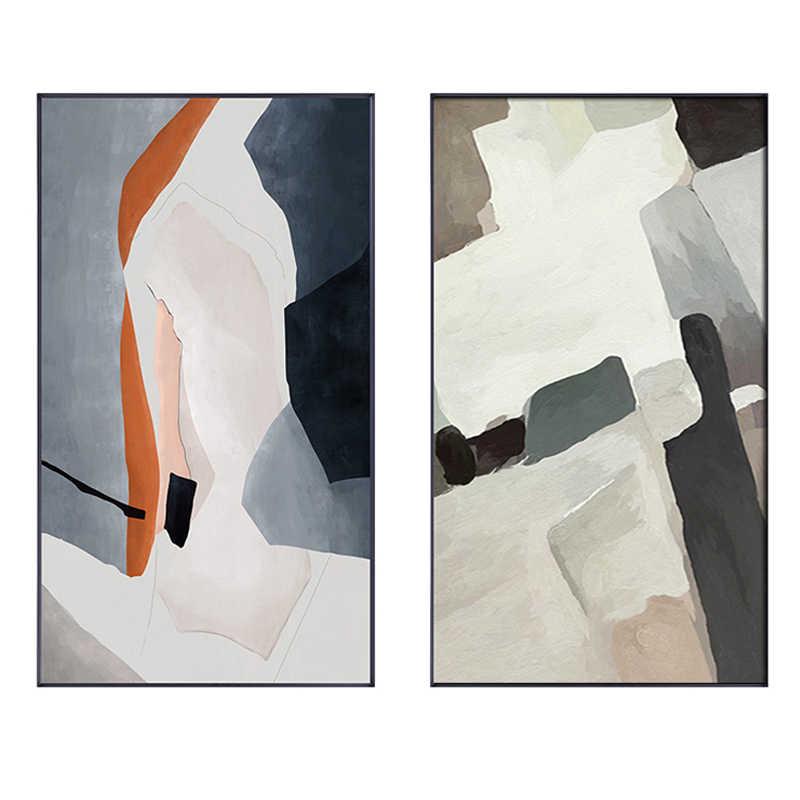 Настенные постеры в скандинавском стиле с абстрактными цветными блоками, художественные рисунки на холсте, печатные настенные картины для гостиной, домашний декор