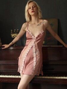 Image 3 - Пикантная Пижама, кружевная Домашняя одежда с цветами, Женская Летняя шелковая ночная рубашка на бретельках с красивой спинкой