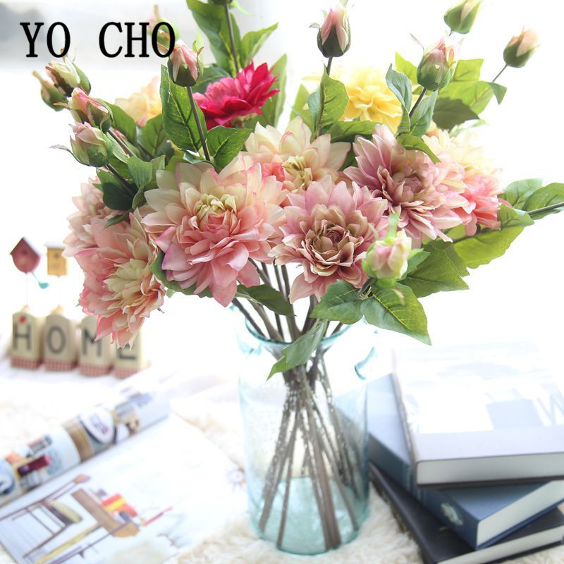 1Pcs Artificial Fake Dahlia Flowers Branch Silk Flowers Branch Dahlia Flores Vase Wedding Favors Dinner Home Table Decor Flowers