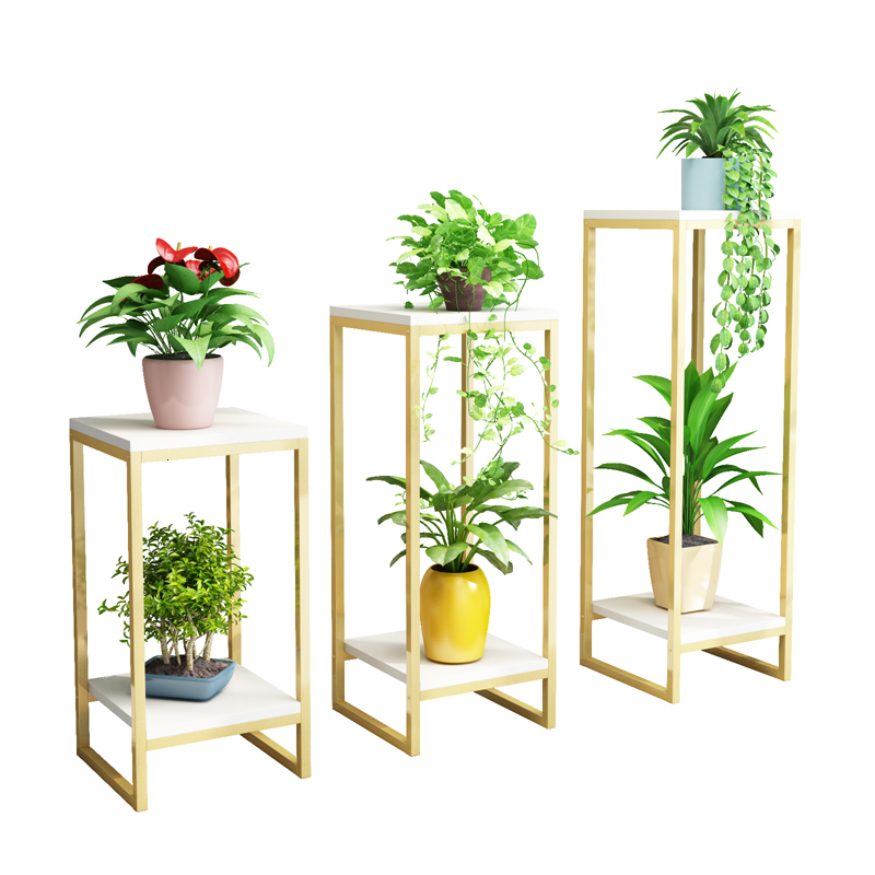 Golden Simplicity Flower Rack  Indoor Bonsai Decorate Frame Green Luo To Ground Multi-storey Storage Flower Rack