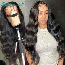 Rosabeauty onda do corpo 13x4 perucas dianteiras do laço pré arrancadas cabelo bebê brasileiro do cabelo humano longo laço frontal perucas para preto feminino remy