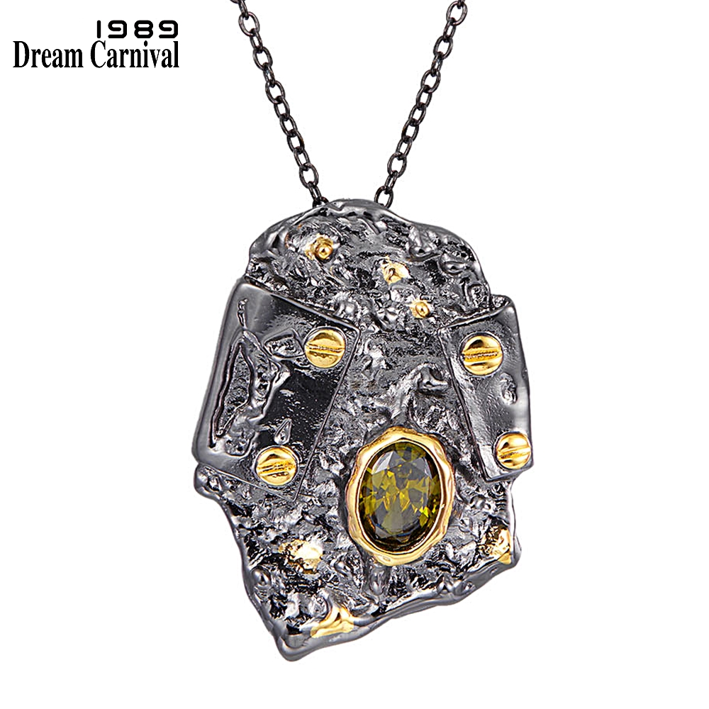 DreamCarnival1989 New Gothic Pendant Necklace for Women Exaggerated Personality Rough Design Olivine Zircon Drop Shipping WP6680(China)