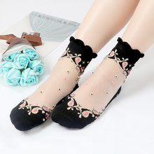 1 Pair Women Mesh Flowers Summer Soft Thin Retro Comfortable Socks Anti Skid Fashion Cotton Lace Elastic Sexy