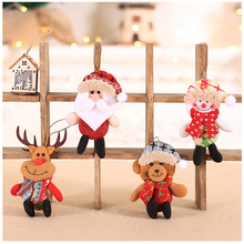 2019 Kawaii Plush Santa Claus Pendants Cute Christmas Deer Ornament New Year DIY Doll Gift Xmas Tree Decoration Party Supplies