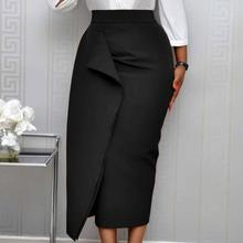 Женская Черная облегающая юбка-карандаш, высокая талия, тонкая, средней длины, скромная, классная, Женская посылка, бедра, Jupes Falad, официальная одежда, элегантная, модная