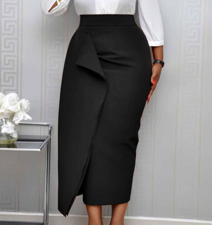 Women Black Bodycon Pencil Skirts High Waist Slim Midi Modest Classy Female Package Hip Jupes Falad Officewear Elegant Fashion