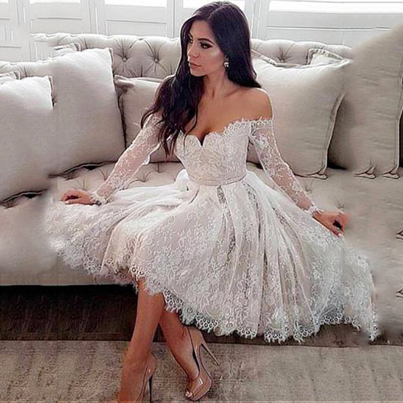 Elegent Lace Short Dress Wedding Off The Shoulder Knee-length Long Sleeve Wedding Dress With Belt Illusion Bridal Wedding Gowns