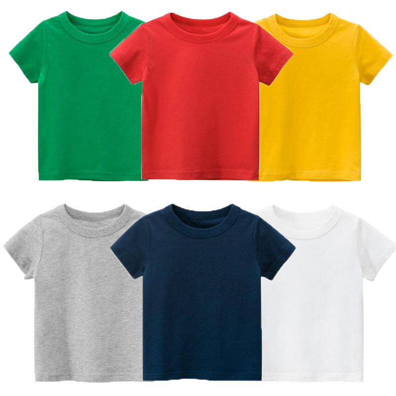 Summer New Arrival Baby Clothes Kids Tee Shirt Boys Girls Short Sleeve Pure Color Casual O-neck T Shirt Soft Pullover Outfits