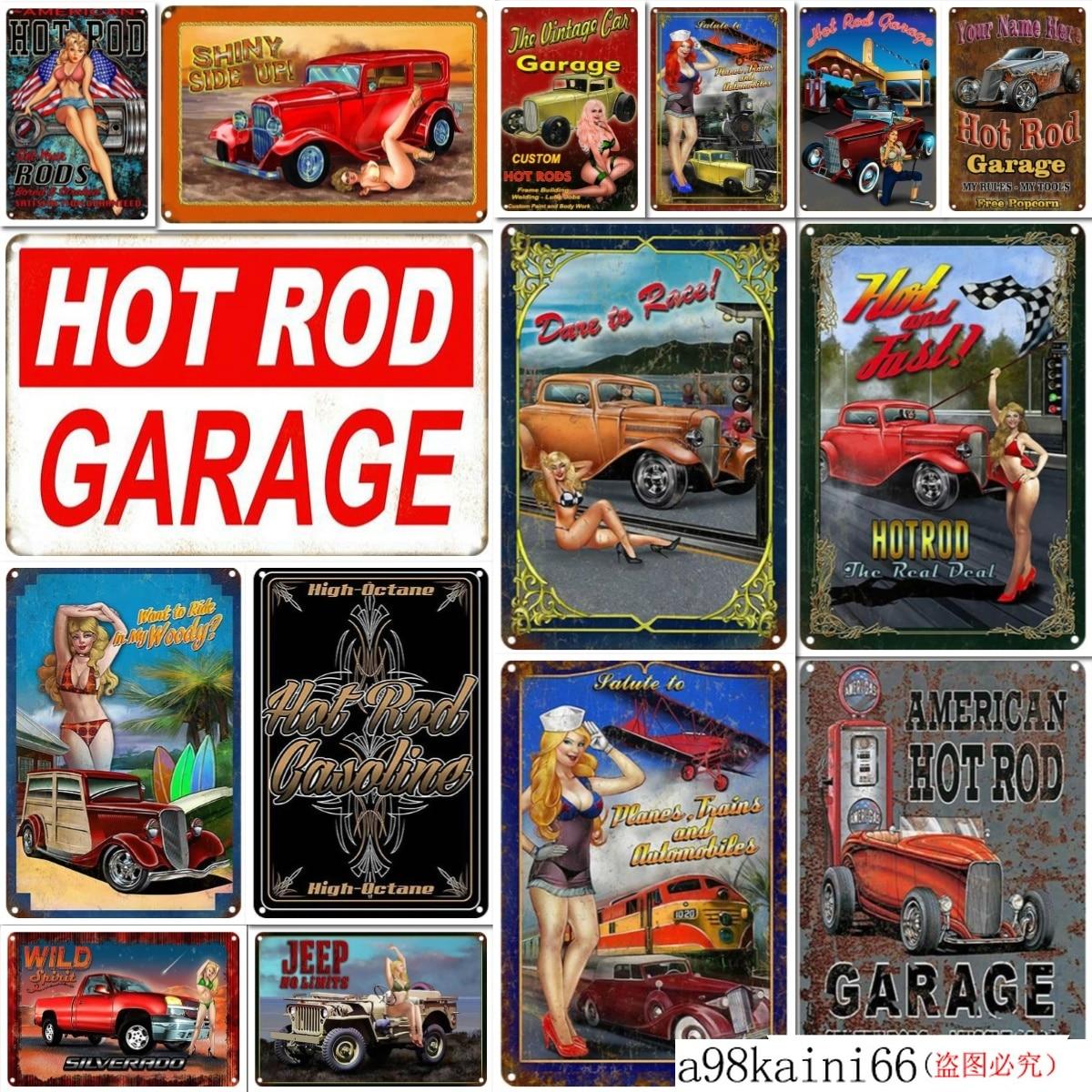 Metal Tin Sign hot rod garage Pub Bar Home Vintage Retro Poster Cafe ART