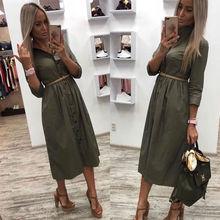 Kobiety w stylu Vintage z przodu przycisk Sashes Party Dress rękaw 3 4 skręcić w dół kołnierz jednolita sukienka 2020 jesień nowy mody sukienka tanie tanio Shyloli COTTON spandex -Line JG2-8516 Trzy czwarte REGULAR WOMEN Naturalne Solid Połowy łydki