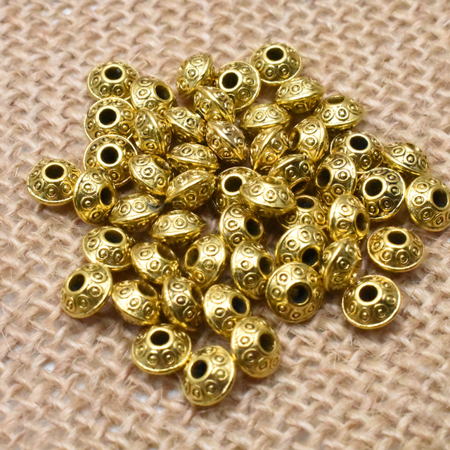 Yanqi 50pcs 6mm Tibetan Antique Metal Gold Silver Oval UFO Beads Loose Spacer Beads for Jewelry Making DIY Charms Bracelet 4