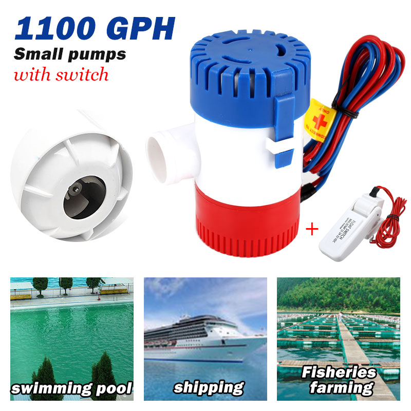 12V 1100GHP Automatic Boat Bilge Pump Electric Water Maine Pump With Float Flow Sensor Switch Suit Kit For Boat Seaplane Yacht