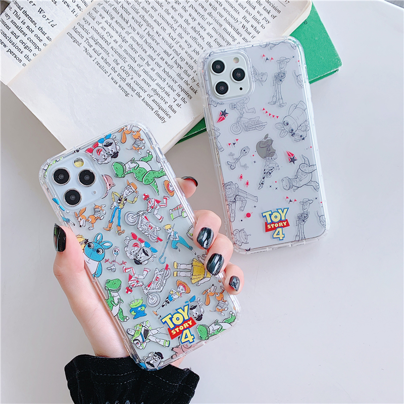 Cartoon <font><b>Toy</b></font> <font><b>Story</b></font> Case For <font><b>iPhone</b></font> 11 Pro Max XS <font><b>XR</b></font> X 6 6S 7 8 Plus Cute Woody Buzz Lightyear Clear Soft Silicon TPU Cover <font><b>Coque</b></font> image