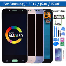 100% Super Amoled LCD Für Samsung Galaxy J5 2017 J530 J530F AMOLED LCD Display Touchscreen Digitizer Montage kostenloser versand