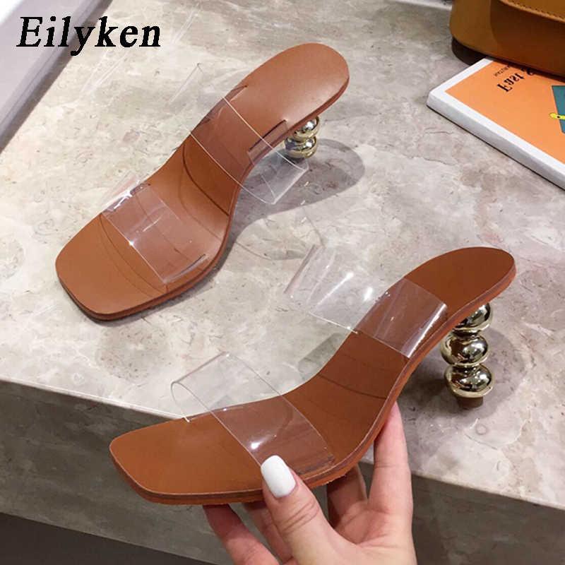Eilyken แปลกส้นรองเท้าแตะ Toe ความโปร่งใส PVC รองเท้าแตะ Mules Gladiator ฤดูร้อน Casual สไลด์