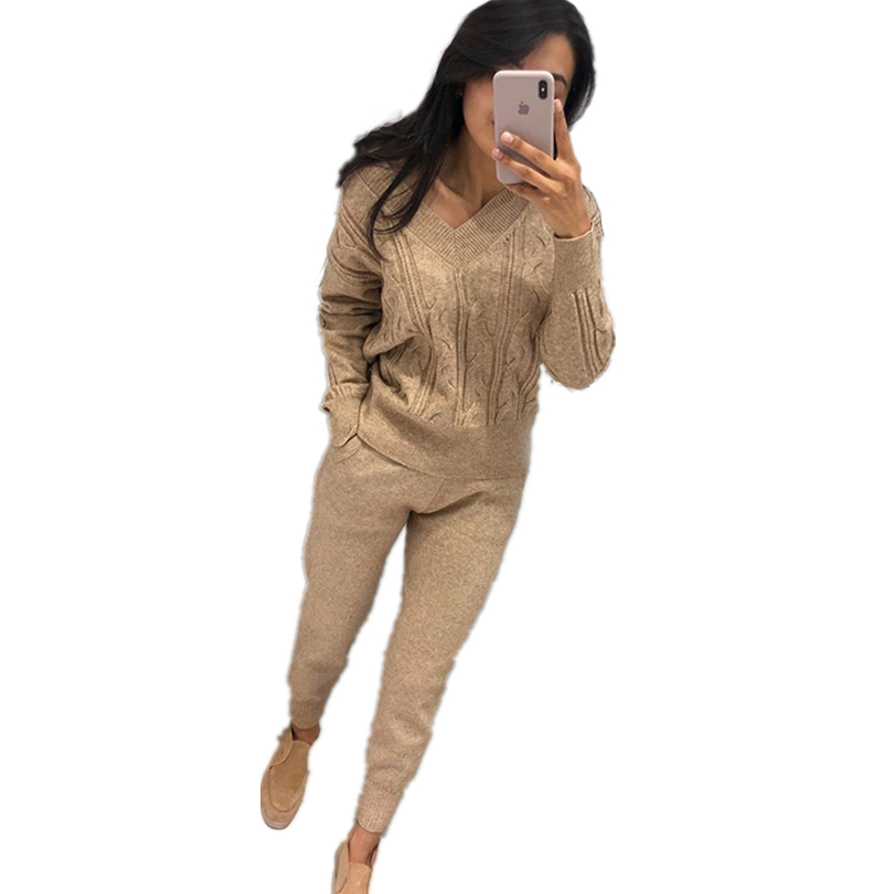 MVGIRLRU Autumn And Winter Sweater Set V-neck Knitting Two-piece Suit