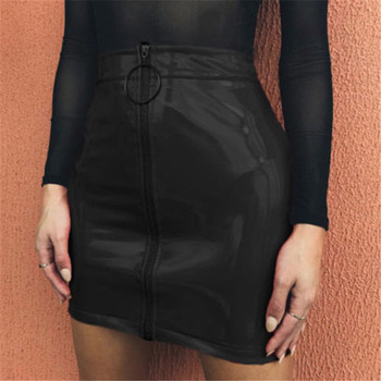 2019 New Women Girl Sexy Pencil Skirts Zipper High Waist Skirt Solid PU Leather Skirt Stretch Bodycon Short Mini Skirts Hot 1