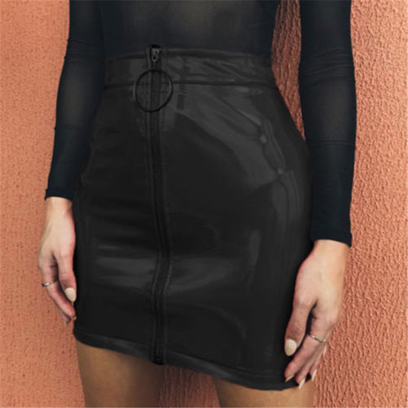 2019 New Women Girl Sexy Pencil Skirts Zipper High Waist Skirt Solid PU Leather Skirt Stretch Bodycon Short Mini Skirts Hot