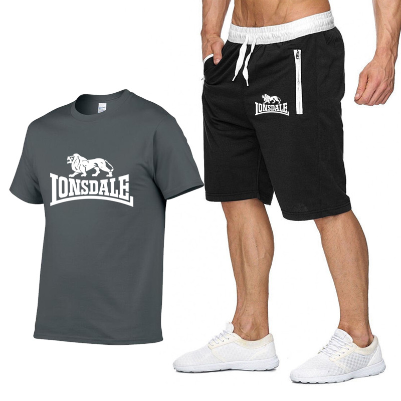 Men Summer LONSDALE Sportswear Sets Short Sleeve T-shirts+ Short Pants New Fashion Men Casual Sets Shorts+T-shirts 2 Pieces